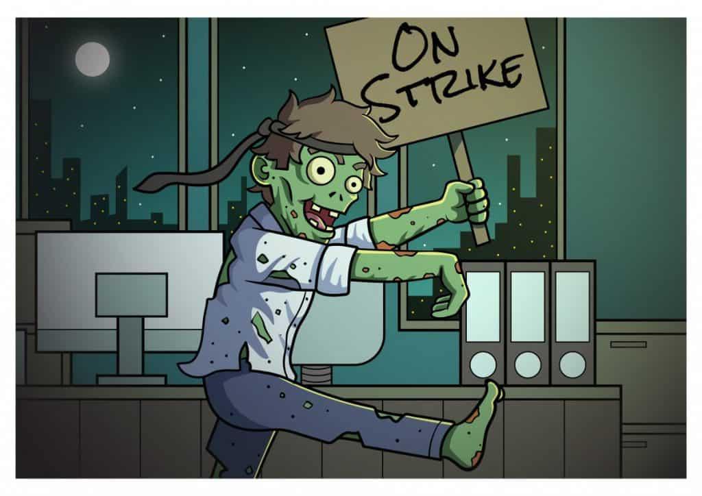 zombie on strike closeup