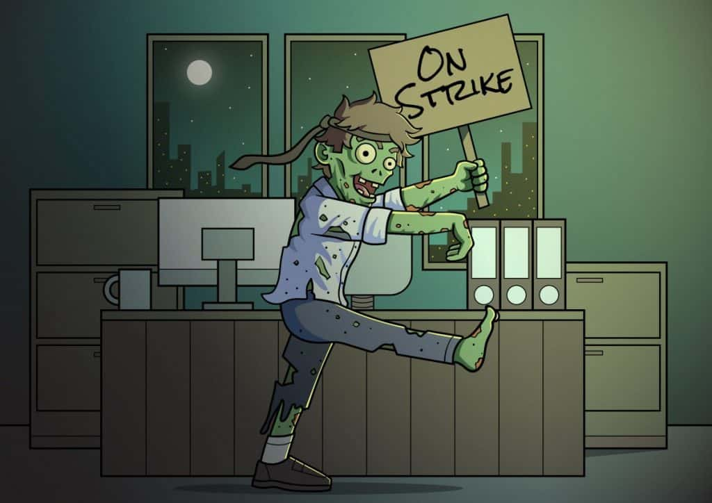 zombies on strike at night